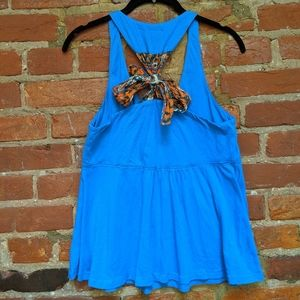 By Eloise Blue Racer Back Tank with Ribbon Tie